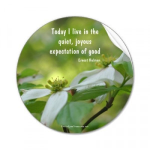 ... live in the quiet, joyous expectations of good.