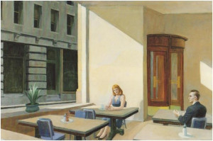 Edward Hopper - Sunlight in a Cafeteria, 1958.