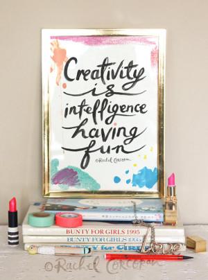 ... Fun - Typographic Print - Hand Lettering - Office Art - Einstein Quote