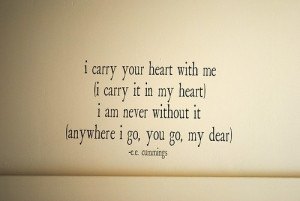 Carry Your Heart With Me I Carry It In My Heart Ee Cummings Love ...