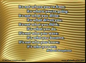 QUOTE: What's Important by Michael Josephson: It's not where you ...