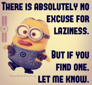 Funny Lazy Quotes - There is no excuse for laziness