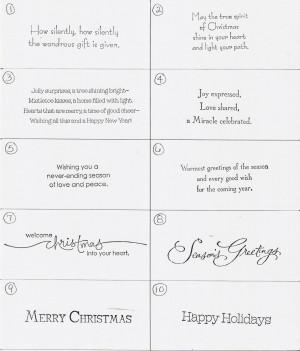 Christmas Card Greetings Sayings