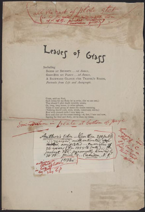 "Walt Whitman (1819-1892). Title page of Leaves of Grass (""deathbed ..."