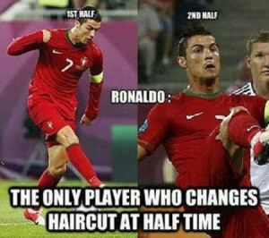 Funny football/soccer meme -ronaldo only player who changes haircut at ...