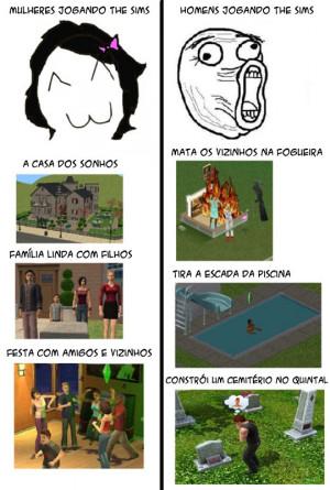 Jogando The Sims.