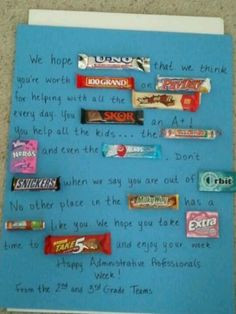 Candy poem for the school secretaries for Administrative Professionals ...