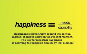 Happiness is never Right around the corner. Instead, it always exists ...