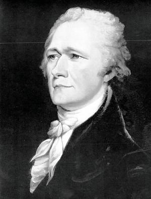 Alexander Hamilton, shown in a circa 1804 portrait by John Trumbull ...