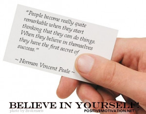 ... quotes - Believe in Yourself Quotes -Norman Vincent Peale Quotes