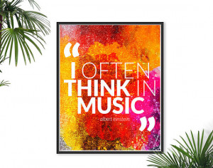 Music Quote Einstein Quote Print Typography poster watercolor Happy ...