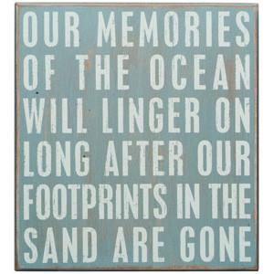 Ocean memories beach sign