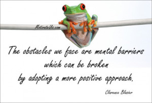 An inspiritional picture of frog on wire with the quote: The obstacles ...