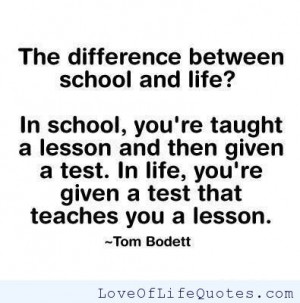 Tom Bodett quote on life lessons