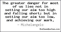 The greater danger for most of us li Quotes, Sayings & Quotations