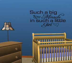 Details about BIG MIRACLE LITTLE GIRL Bedroom Wall Decal Quote 28