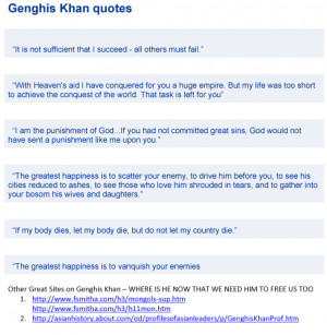 genghis khan quotes. genghis