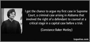 the chance to argue my first case in Supreme Court, a criminal case ...