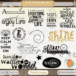Glow and Shine Word Art, Motivational Typography, Digital Scrapbooking ...