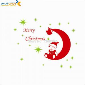 Reindeer sleigh Bear moon christmas decorations wall stickers