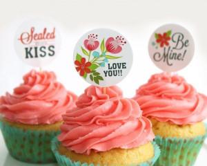 cute round valentines labels