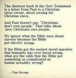 dan savage, on christian slave owners