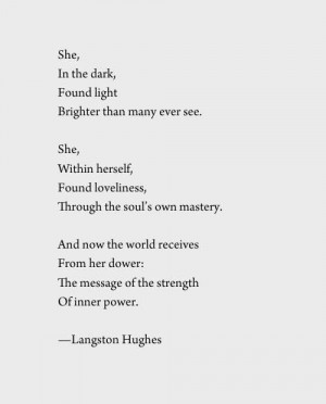 Poems, Dark Poetry Quotes, Langston Hugh Poems, Beauty Poems, Langston ...