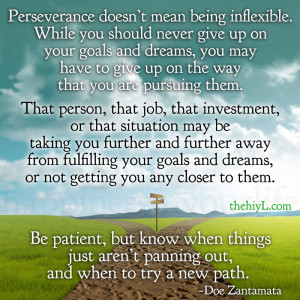 Perseverance doesn't mean being inflexible.