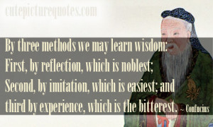 ... ; and third by experience, which is the bitterest. ~ Confucius Quotes
