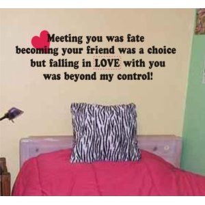 Meeting You Was Fate Quote Wall Decal Sticker Love Marriage Wedding ...
