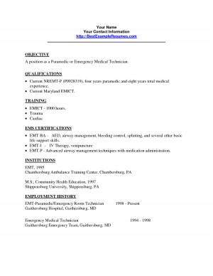 emt resume sample