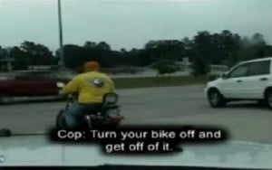 we're all taught to respect the law. Well, it seems this brash biker ...
