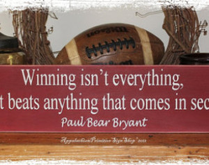 WOOD SIGN Alabama Crimson Tide Bear Bryant Football Quote Wall Hanging ...