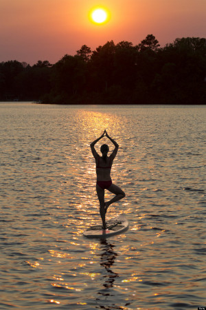 SUP Stand Up Paddleboard Yoga me in front my teacher in back