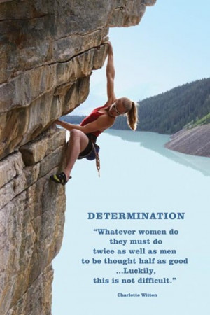 Determination (woman rock-climbing) ~ Wall Poster