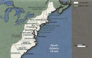 New England Middle and Southern Colonies Map