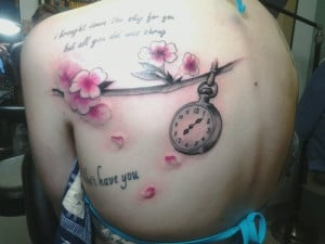 Cherry blossoms and clock