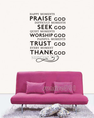 wall-037A (small black) Praise God Quote Wall Stickers Art Decal ...