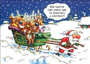 christmas funny comic santa pulling the sliegh