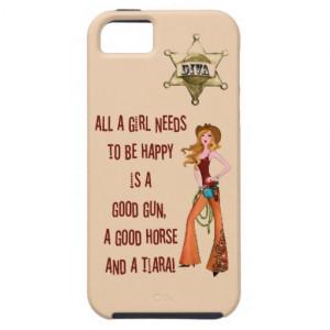 All A Girl Needs - A Good Gun, Good Horse & Tiara! iPhone 5 Case