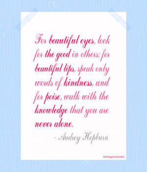 You Are Never Alone Audrey Hepburn Quote Print Printable 5 x 7 Digital ...