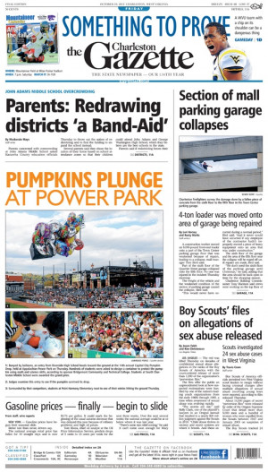 front page leads with Kanawha County parents saying redistricting ...