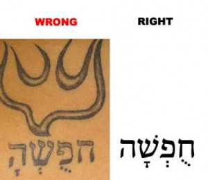 """For this tattoo, it is supposed to be the Hebrew word for """"freedom ..."""