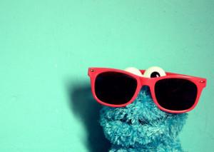 blue, cookie monster, cute, sunglasses