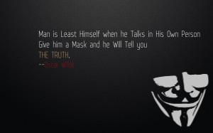 Minimalistic quotes masks oscar wilde v for vendetta wallpaper ...