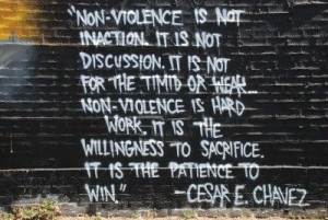Cesar Chavez non-violence quote from the Barrio Unity Mural in Denver
