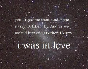 kiss, love, october, quote, sky, stars