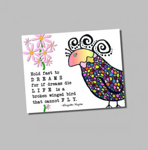 Langston Hughes Quote Hold Fast to Dreams Groovy Bird Giclee Print