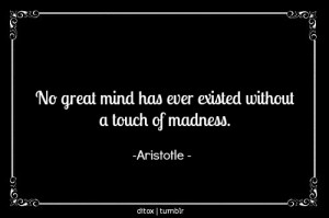 "... great mind has ever existed without a touch of madness."" -Aristotle"