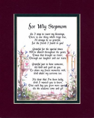 Gift For A Stepmother. Touching 8x10 Poem, Double-matted in Burgundy ...